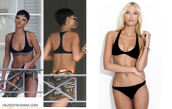 Rihanna in Barbados wearing a black Charlie By Matthew Zink Joey Bikini
