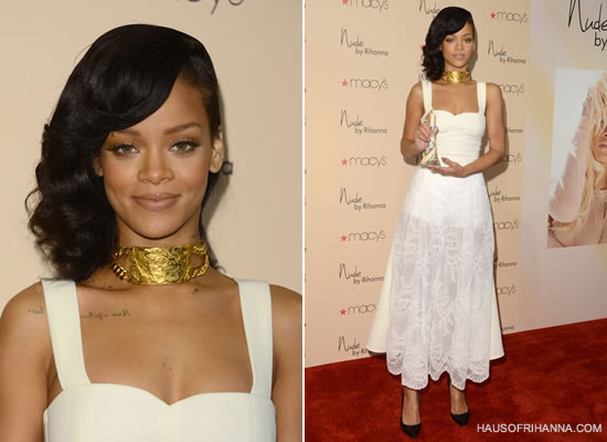 Rihanna at Nude perfume launch in Nini Nguyen white dress and Tom Ford python pumps