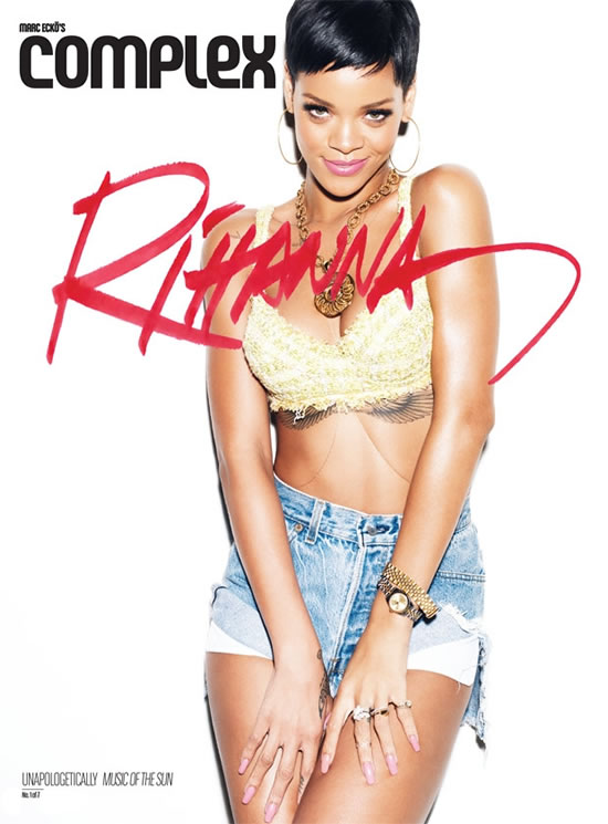 Rihanna in Complex magazine wearing vintage Chanel necklace, Chanel bra, Levi's shorts