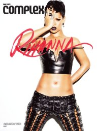 Rihanna in Complex magazine wearing Alexander Wang leather bustier, Rodarte leather lace-up pants, Lynn Ban jewelry