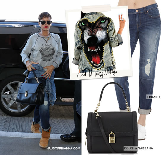 Rihanna in Massive studded denim jacket by Coal N Terry Vintage, J Brand 1214 Aidan jeans in Bigtime, Timberland boots and Dolce & Gabbana padlock shoulder bag