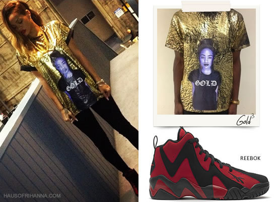 Rihanna In Gold3 London Zhiloh Tee And Reebok Kamikaze II Sneakers