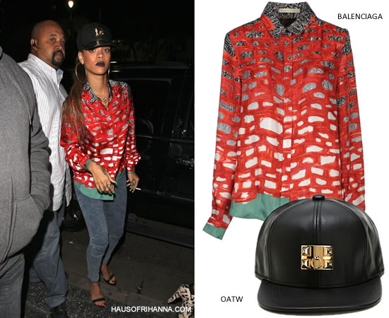 Rihanna in OATW - Ohio Against The World Hermès-inspired collier de chien leather cap with gold hardware and Balenciaga Resort 2012 printed shirt