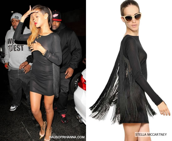 Rihanna in Stella McCartney fringe back jersey dress and Christian Louboutin Duvette pumps