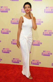 Rihanna at the MTV Video Music Awards 2012 wearing white Adam Selman dress