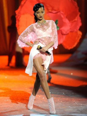 Rihanna performing on Victoria's Secret Fashion Show wearing pink Adam Selman
