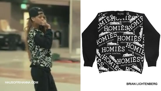 Rihanna at Diamonds World Tour rehearsals in Brian Lichtenberg Homies Graffiti sweatshirt
