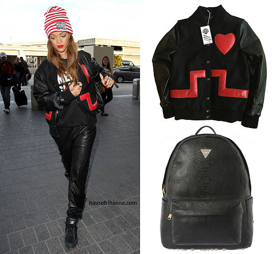 Rihanna in Joyrich Rich Advisory beanie cap, Joyrich python PU backpack, Joseph leather jogging pants, adidas Freemont black sneakers, We Are Massiv No Mental Slavery t-shirt