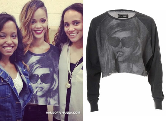 Rihanna in Religion's Heart Religion sweater
