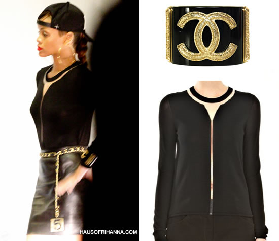 Rihanna in Alexander Wang onyx floating spine mesh sweater, Chanel black and gold cuff, Chanel no.5 belt,
