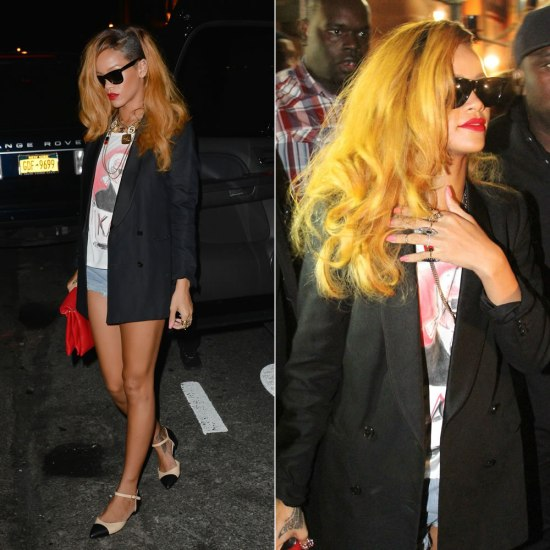 Rihanna in Karl Lagerfeld t-shirt, Chanel necklace, Chanel two-tone flats, Jennifer Fisher rings, Celine red clutch, Ray-Ban Wayfarer sunglasses