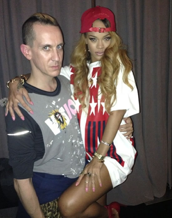 Rihanna in DKNY for Opening Ceremony Spring 92 stars and stripes t-shirt