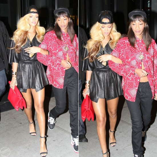 Rihanna in Pierre Balmain perforated leather skirt, Celine rolled clutch, Manolo Blahnik Chaos sandals