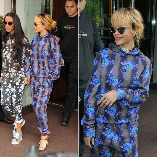 Rihanna in Christopher Kane blue floral print hoodie and pants, Manolo Blahnik black Fersen sandals and Tom Ford Nastasya cat-eye sunglasses