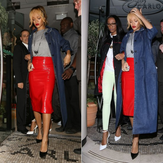 Rihanna wearing Miu Miu denim coat and red leather skirt, Christian Louboutin Pigalle Plato pumps