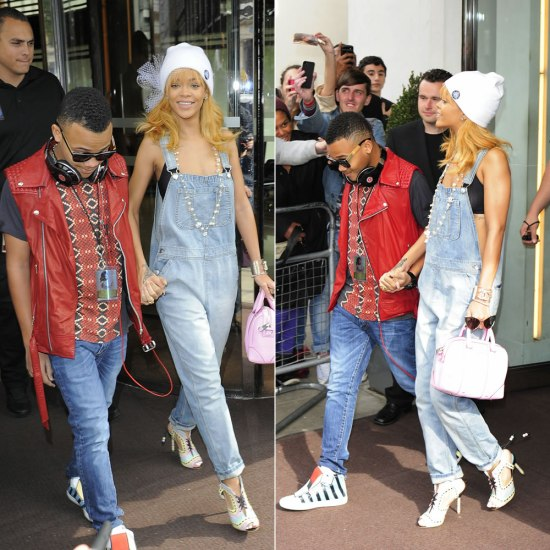 Rihanna in Sophia Webster Riri Sandals, Topshop moto bleach denim overalls, Silver Spoon Attire mesh bow beanie, Tom Ford Nastasya sunglasses, Givenchy pink lucrezia mini tote,
