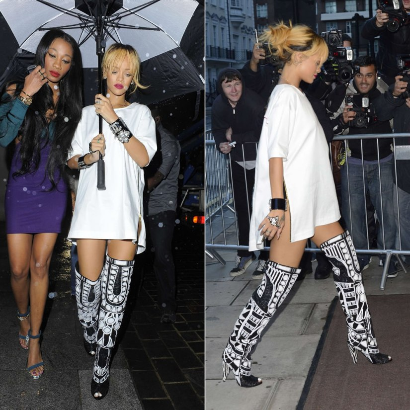 Rihanna in Trapstar white zip t-shirt and Tom Ford Fall/Winter 2013 black and white boots