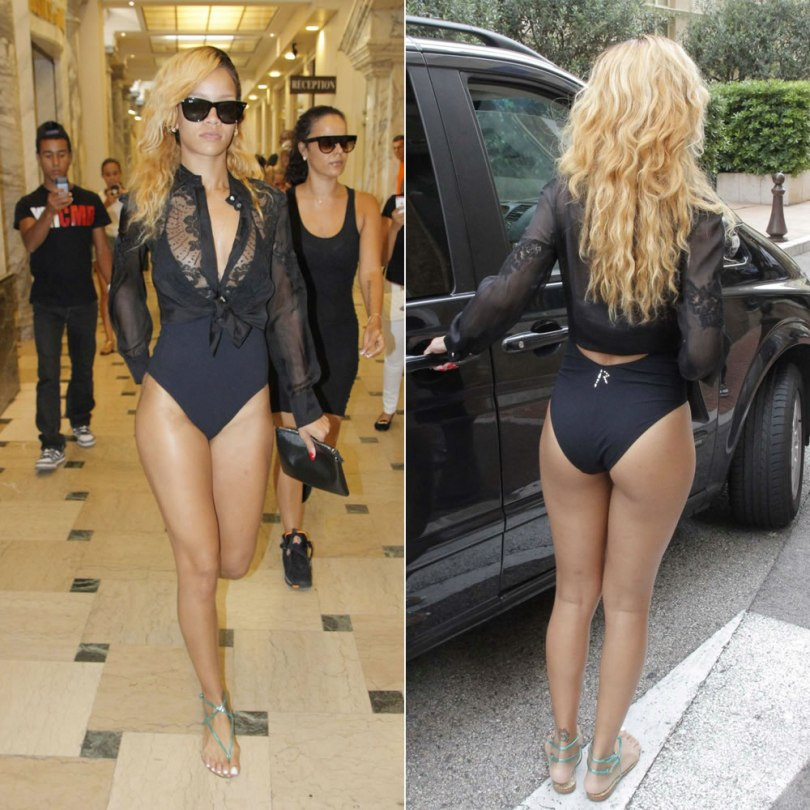 Rihanna in Monaco wearing Charlie by Matthew Zink Charlie one-piece swimsuit with custom R logo