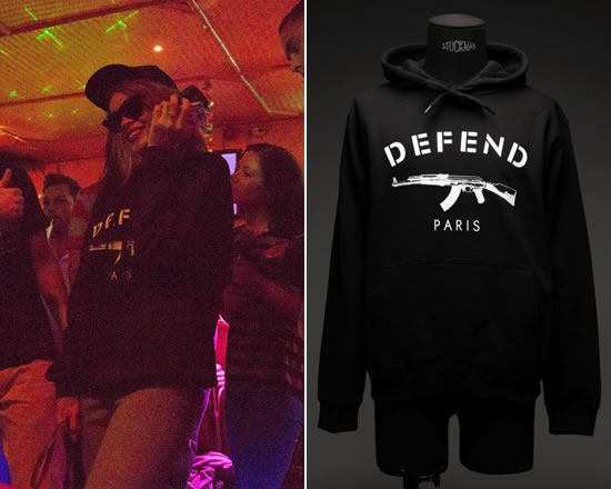 Rihanna in Defend Paris hoodie