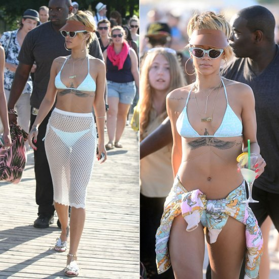 Rihanna wearing Mikoh Swimwear bikini, Rihanna for River Island crochet skirt, Opening Ceremony gingham cat-eye sunglasses, Miu Miu parrot sandals, Jennifer Fisher Jewelry custom body chain, Fleet Ilya visor, Moschino vintage hip hop duck print bomber jacket