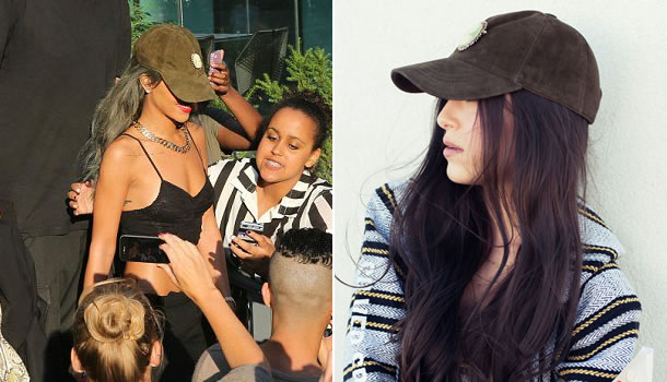 Rihanna in Silver Spoon Attire green cameo cap
