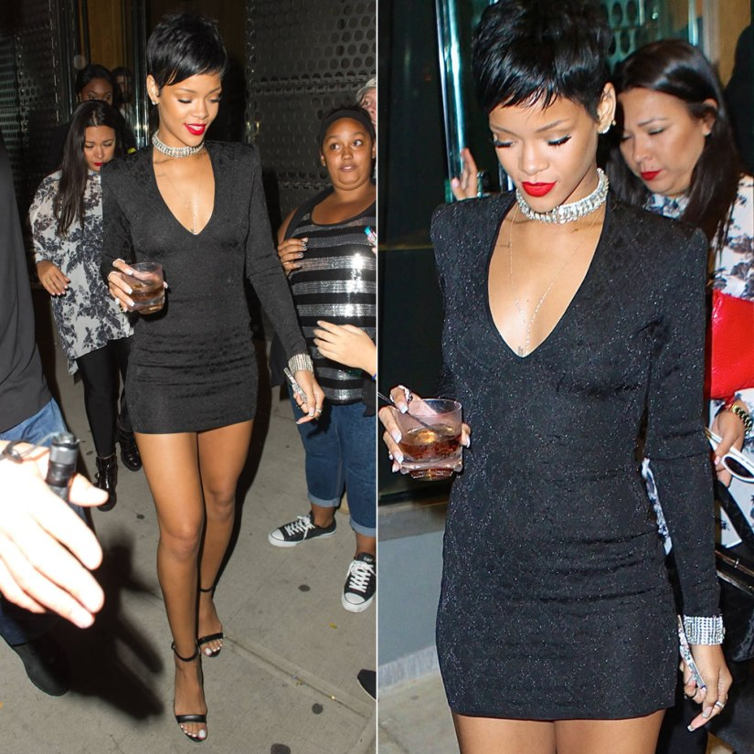 Rihanna wearing Balmain diamond lurex jacquard mini dress and Manolo Blahnik Chaos sandals