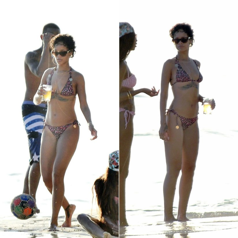 Rihanna in Barbados wearing My Jemma Bianca coral pink feather print bikini, Stella McCartney square half rim sunglasses