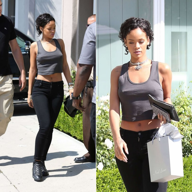 Rihanna in American Apparel cropped tank, Citizens of Humanity Avedon skinny jeans in Axel, Balenciaga Arena high-top sneakers, Jennifer Fisher Jewelry open choker