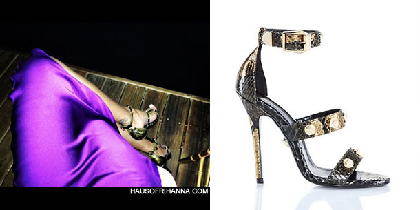 Rihanna in Versace Signature Medusa studded python sandals