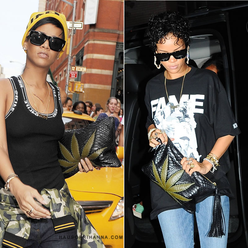 Rihanna carrying Jacquie Aiche's Sweet Leaf marijuana clutch