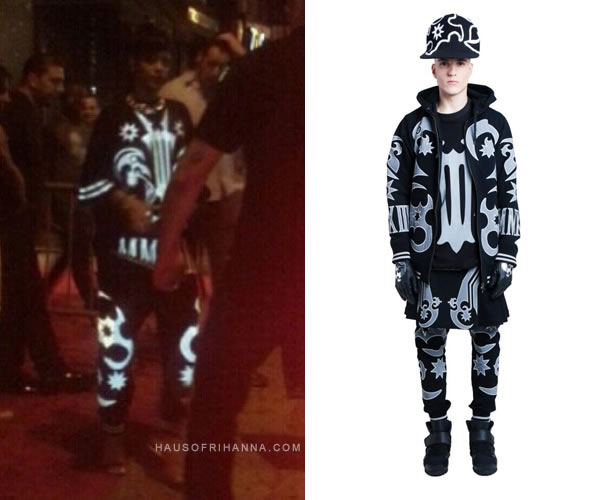 Rihanna wearing KTZ Fall/Winter 2013 menswear