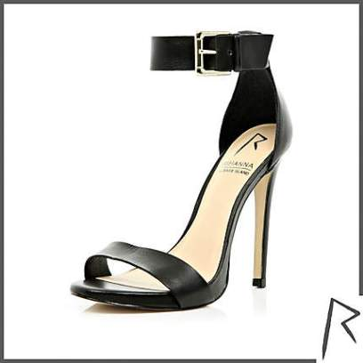 Rihanna for River Island black barely there stiletto sandals