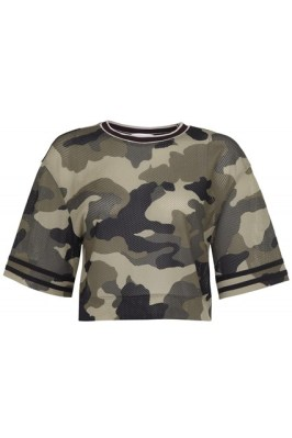 Rihanna for River Island Fall/Winter 2013 camouflage cropped t-shirt