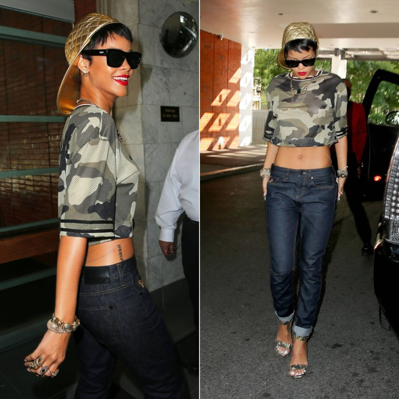 Rihanna wearing Rihanna for River Island Fall/Winter 2013 camouflage t-shirt, cuffed jeans and camouflage sandals