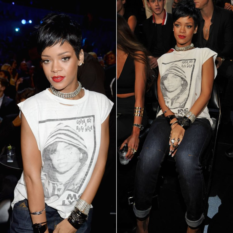 Rihanna at the 2013 MTV Video Music Awards wearing a vintage MC Lyte Ruff Neck t-shirt, Rihanna for River Island cuffed boyfriend jeans, Lynn Ban cuffs