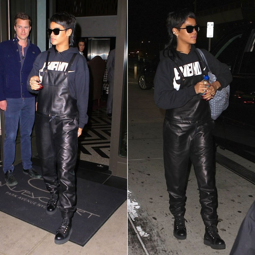 Rihanna wearing Elizabeth and James Valenti sunglasses and Lars leather overalls, Another Enemy hoodie, Goyard handbag