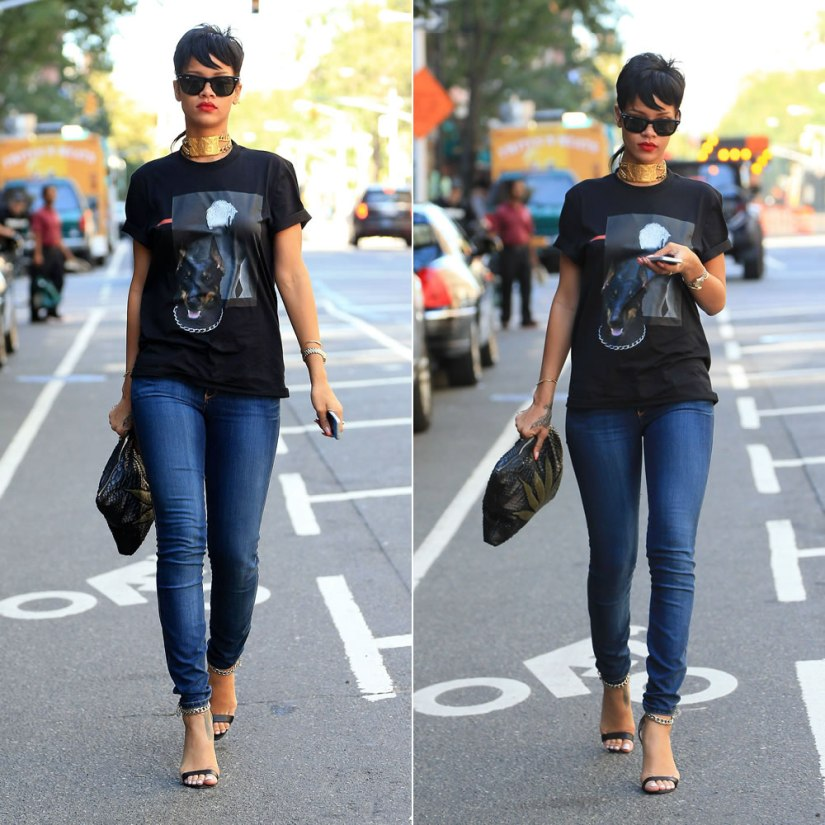 Rihanna wearing Givenchy shadow doberman t-shirt, Manolo Blahnik Chaos ankle chain sandals, Jacquie Aiche sweet leaf clutch