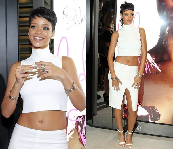 Rihanna at Riri Hearts MAC promotional event in Hong Kong wearing Versace