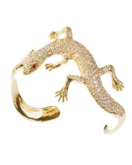 Jennifer Meyer pavé diamond yellow gold lizard cuff with ruby eyes