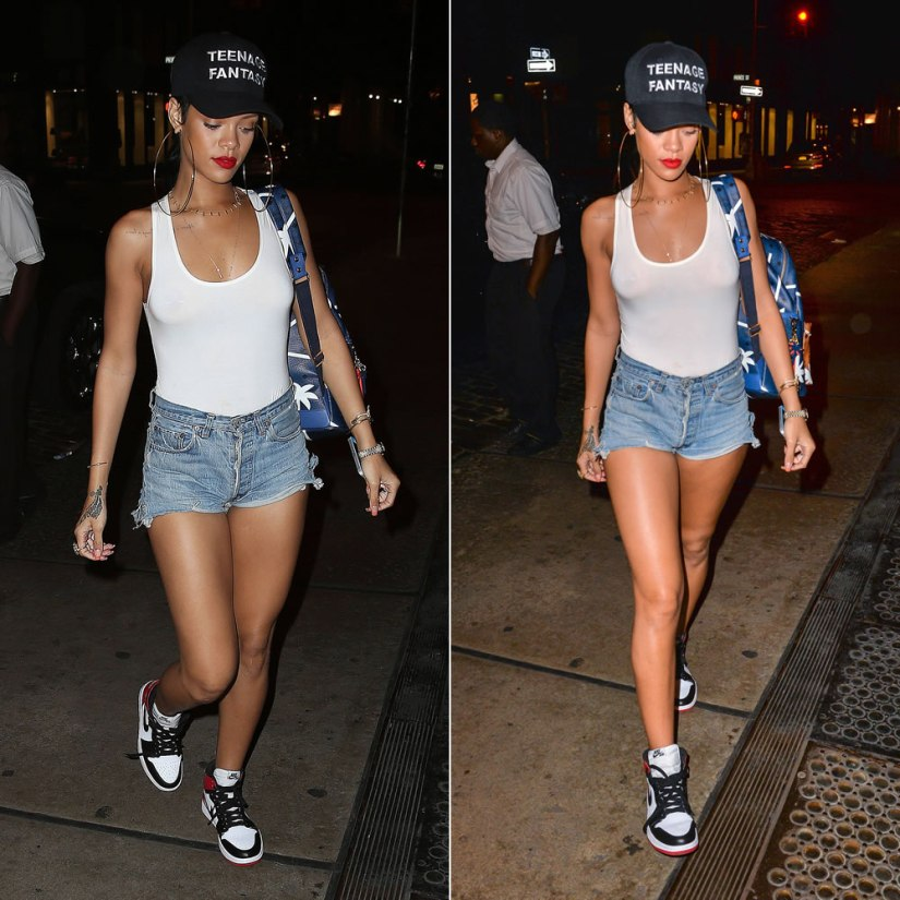 Rihanna in Komakino Teenage Fantasy cap, American Apparel bodysuit, Levi's shorts, Air Jordan 1 Hi Retro sneakers, Jennifer Meyer cross bar chain