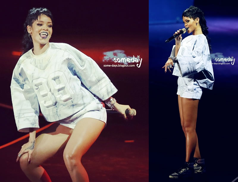 Rihanna performed in Macau wearing Juun J Spring/Summer 2014 menswear and Balenciaga marble effect sneakers