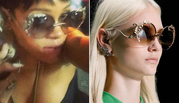 Rihanna wearing Roberto Cavalli limited edition Hedera sunglasses