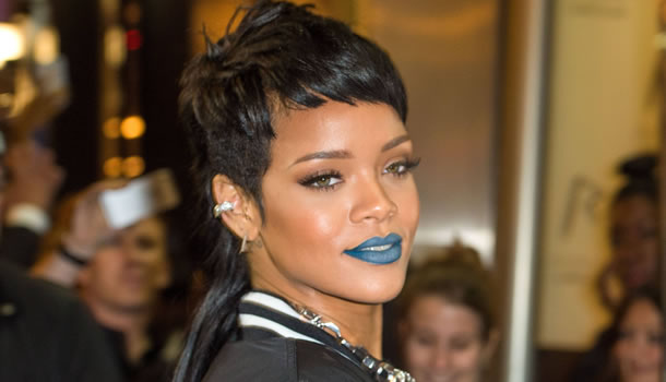 Rihanna wearing matte blue lipstick by Melt Cosmetics