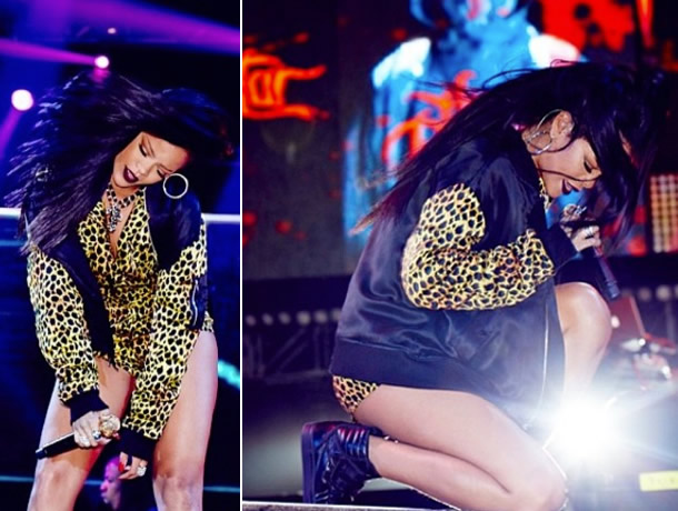 Rihanna performing in Capetown wearing Jeremy Scott Spring/Summer 2014 collection and Raf Simons velcro high-top sneakers