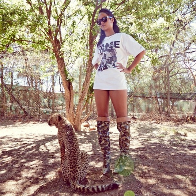Rihanna in Frank 151 by Hall of Fame Chapter 51 leaders tee and Rihanna for River Island limited edition camouflage boots