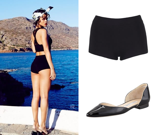 Rihanna wearing Rihanna for River Island knitted shorts and Manolo Blahnik Soussa d'orsay flats