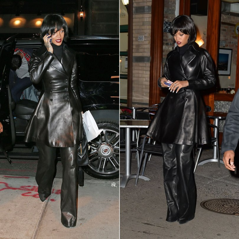 Rihanna in New York wearing Azzedine Alaia flared leather coat, Proenza Schouler leather wide leg pants, Balmain x Aurelie Bidermanna Pierre handbag