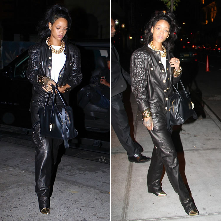 Rihanna at Nobu in NYC wearing Balmain Spring/Summer 2014 leather jumpsuit and gold cap-toe boots, Balmain x Aurelie Bidermann Pierre handbag