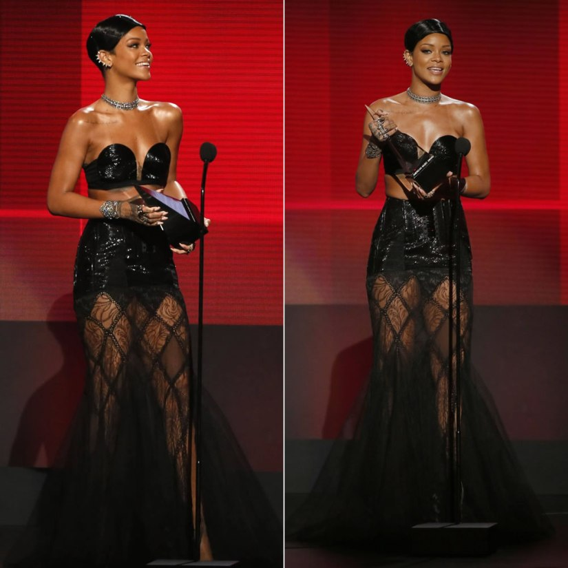 Rihanna at the 2013 American Music Awards wearing Jean Paul Gaultier Spring 2013 couture black bustier and sheer lace skirt