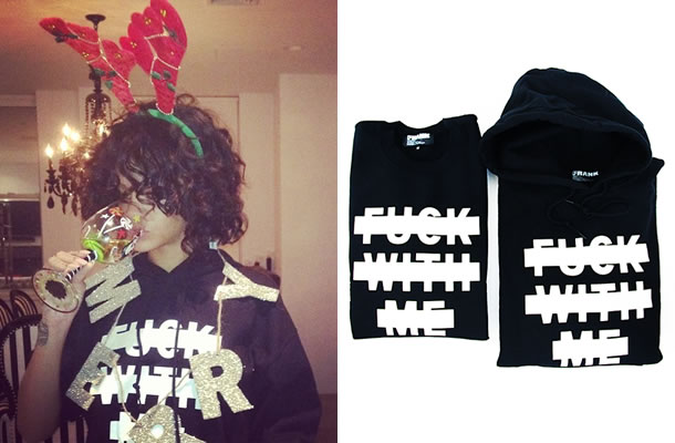 Rihanna in Frank 151 x Clot FWM Fuck With Me hoodie